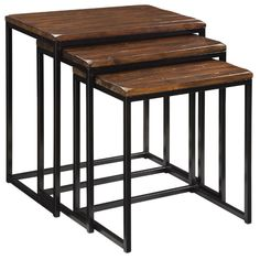 Embrace a rustic charm in your home with these Pike Nesting Tables. This set of nesting accent tables are hand-hewn rustic tabletops with a distinct wood grain, chamfered corners, and character marks for plenty of interest. Table Furniture, Living Room Furniture, Home Furniture, Furniture Ideas, Metal Furniture, Furniture Styles, Furniture Inspiration, Accent Furniture, Furniture Design