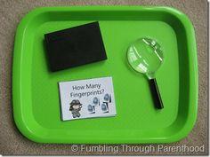 finger print math activity -- part of a police preschool pack