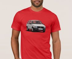 Fiat Uno Turbo i. in white on T-shirt. hot hatch from Italy. Fiat Uno, Car Illustration, Mk1, Cool Cars, Classic Cars, Italy, Mens Tops, T Shirt, Fashion