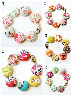 Fabric covered button bracelets                                                                                                                                                     More