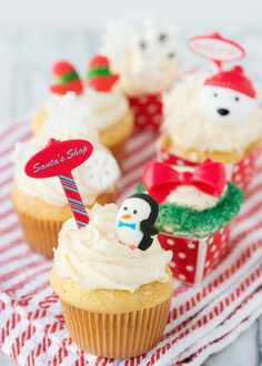 Festive Wintery Cupcakes - penguins, snow, mittens, polar bears, and gift cupcakes