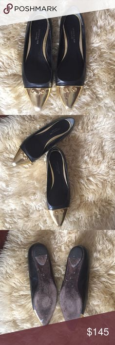 Derek Lam Gold Toe Flats Preloved in very good condition. Gentle wear slight scuffs at toes and can be polished . Leather fits 8.5 or true size 9 . Sized at 39 . Derek Lam Shoes