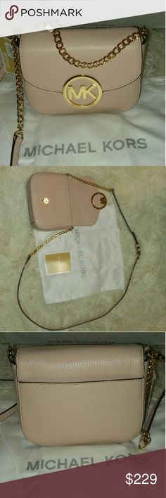 "Authentic Michael Kors Fulton Crossbody Baby Pink Fulton MK Chain link Crossbody. Never worn in Excellent Condition. Measurements 8.5""L. 7.5""H. 4.5""W 20"" strap drop. Includes dust bag Michael Kors Bags Crossbody Bags"