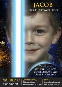 Your boy can have the power, too!. Make him the protagonist! Star Wars Invitation, Star Wars Birthday Invitation. Force Awakens Poster.