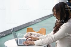 Business Woman, Using A Laptop