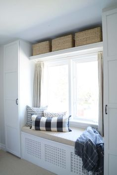 Built-in wardrobe, diy storage, bench seat - Rambling Renovators home renovation Rambling Renovators: One Room Challenge Spring 2017 Closet Bedroom, Bedroom Storage, Bedroom Decor, Diy Storage, Bedroom Organization, Design Bedroom, Window Storage Bench, Storage Ideas, Bedroom Ideas