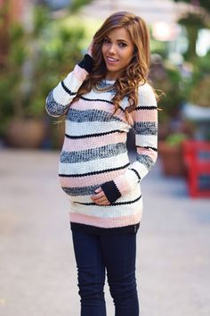 Black White Pink Striped Knit Fitted Maternity Sweater - Julie Home Cute Maternity Outfits, Maternity Sweater, Stylish Maternity, Maternity Tops, Maternity Dresses, Maternity Fashion, Maternity Clothing, Maternity Styles, Maternity Cardigans