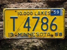 Pair of vintage license plates - 10,000 Lakes - Minnesota - 1960 by AtiovAtelierCo on Etsy https://www.etsy.com/listing/384586834/pair-of-vintage-license-plates-10000