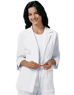 Look lovely in this women lab coat from Cherokee uniforms. It's a 29-inch short lab coat with a three button front is edged with lace on its collar, notched lapel and center back belt.