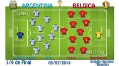 1/4 de Final: Argentina vs Belgica Alineaciones titulares y sistemas de juego