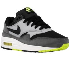 2d661c7f7 NEW Nike Kid s (GS) Air Max 1 Running 555766 047 Volt Black Lime Grey