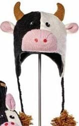 Youth/Adult Calvin The Cow Pilot Hat by Knitwits - A1081  Delux Knitwits are made of 100% natural wool from New Zealand. Wool contains lanolin which makes it water resistant and gives it a natural self cleaning effect. Knitwits are made in a fair trade environment with a portion of our proceeds donated to the community in which they were created. Sized for Youth/Adults.