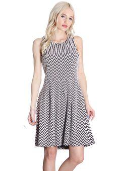 a29f3e2a93 Black and White Chevron Dress Boutique Clothing