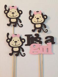 Pink Monkey Centerpiece set // safari jungle by pinktreepapers