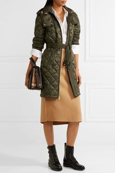 Burberry - Hooded Quilted Shell Jacket - Army green - x small