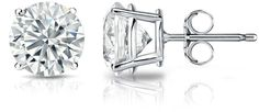 Diamond Wish GIA Certified 18k White Gold Round Diamond Stud Earring 4-Prong (3.50 cttw, J-K Color, VVS1-VVS2 Clarity)