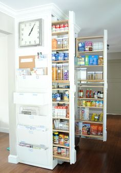 Narrow pullout shelves. Wouldn't want the clutter on the outside though.....all those bins etc would just be an invitation to chaos in my house...