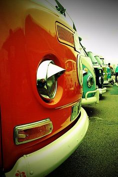 VW Campervans on Madeira Drive at the annual Brighton Breeze. Brighton Seafront, UK.