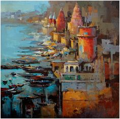 Varanasi , Acrylic On canvas.  Artist - Satheesh Kanna