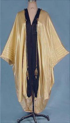 Silk Satin Evening Wrap with Beading, c. 1910.