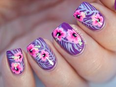 Nailpolis Museum of Nail Art | Tropical Hibiscus Flowers - Close Up  by Paulina's Passions