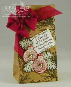 "Create with Connie & Mary Blog Hop during our 3rd week of Holiday ""Create""tions Subscription. Stampin' Up! Ornament Pine &  Petite Cafe Gift Bags. Debbie Henderson, Debbie's Designs."