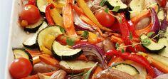 Ovnsstekte grønnsaker kan bestå av omtrent alle typer grønnsaker og er enkel å lage.
