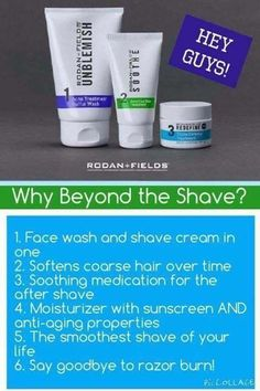 Men! Rodan + Fields products are not just for women -- Beyond the Shave bundles the best of three different regimens to fit your needs. Order at http://laurendraina.myrandf.com