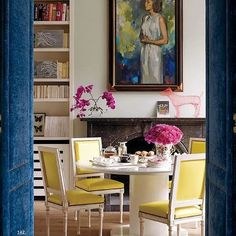 Yellow dining room chairs.