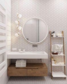 Scandinavian Bathroom Design ideas with Honeycomb wall tile via @diam_home Minimalist House Design, Minimalist Home Decor, Minimalist Bedroom, Scandinavian Style Home, Scandinavian Bathroom, Minimalist Scandinavian, Cheap Home Decor, Diy Home Decor, Decor Room