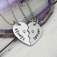Hand Stamped Broken Heart Couples Necklace. Split heart necklaces for couples, friends or sisters.