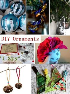 Lots of clever DIY ornament ideas for adults & kids! Great gifts, present toppers, etc.