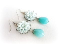 Turquoise jade drop earrings teardrop stone by MalinaCapricciosa, $18.00