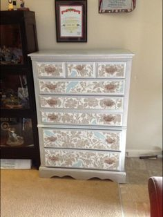 My next project! Redecorate drawers & bedside tables with wallpaper & paint