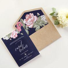 C & L. Wedding invitation. Invitaciones de boda. Papelería social. Stationery. Azul. Flores. Blue. Flowers.