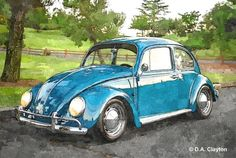 Volkswagen, Custom Dog Portraits, Pet Portraits, Car Art, Vw Cars, Car Drawings, Watercolor Portraits, Pet Memorials, Vw Beetles