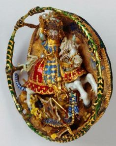 """From the collection of HM Queen Elizabeth. Royal Cap Badge of Henry VIII. As documented in a miniature portrait painted by Hans Holbein. """"St. George Slaying the Dragon"""" - Gold, Pearl, Cloisonne' Enameling."""