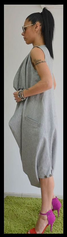 Grey maxi jumpsuit /Oversize sleeveless jumpsuit /Casual Loose