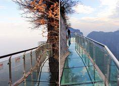 Tianmen Mountain, China: The new glass 'bridge' walkway cracks at 3,000 ft. in the air.