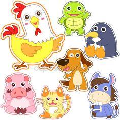 Descargar - Conjunto de dibujos animados lindo animal — Ilustración de Stock #30571335