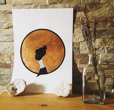 #art #etsyshop #etsy #copperleaf #illustration #gold #lady #artofgold #metallicleaf #tribal #perfil #originalart