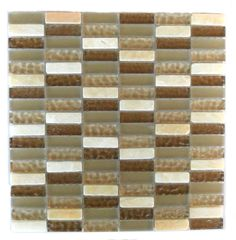 Quartz Glass and Stone Mosaic Tile in Beige and Brown