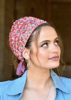 """🌸🌼🌸ONE TIE HEADBANDֱֱ!! Stately Colorful Lace flowers handmade headband fashionable and so comfortable. This """"Mitpachat"""" is worn for show some hair. #headscarf #Inspire #HeadwrapsStyle #Turban #summerstyle #beautiful #beauty #fashion #style #love #jew #jewish #judaic #judaica #judaism #hebrew #hebrewlanguge #ashkenazi #religion #religious #israel #israeli #tichel #tichels #mitpachat #headcovering #modesty #beautiful #jewishwomen #mitpachatrap #haircovering Tie Headband, Handmade Headbands, Judaism, Lace Flowers, New Pins, Turban, Head Wraps, Israel, Vintage Items"""
