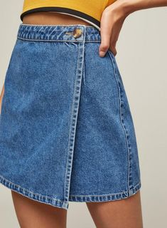 Wrap Over Denim Skirt - Carousel Image 3 – Jean Skirts – Ideas of Jean Skirts Source by - Cheap Summer Dresses, Cheap Homecoming Dresses, Diy Clothing, Sewing Clothes, Diy Clothes Jeans, Modest Clothing, Look Patches, Denim Fashion, Fashion Outfits