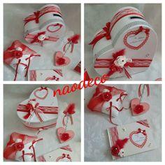 Urne coeur mariage blanc rouge