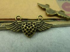 10pcs Antique Brass 2 loops Heart Wings  A5055 by ministore, $2.99