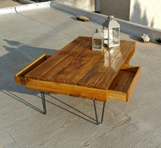 Chestnut Pallet Coffee Table with 2 Drawers | Pallet Furniture