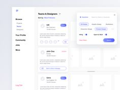 Team Search designed by Left Aligned for Connect with them on Dribbble; the global community for designers and creative professionals. Dashboard Interface, Dashboard Design, User Interface Design, Interaktives Design, Ui Design Inspiration, Design Ideas, Ui Web, Application Design, Flat Ui