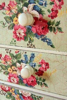Amazing fabric covered drawers. An easy way to up cycle furniture.