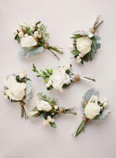 lamb's ear + white rose boutonnieres | via: style me pretty
